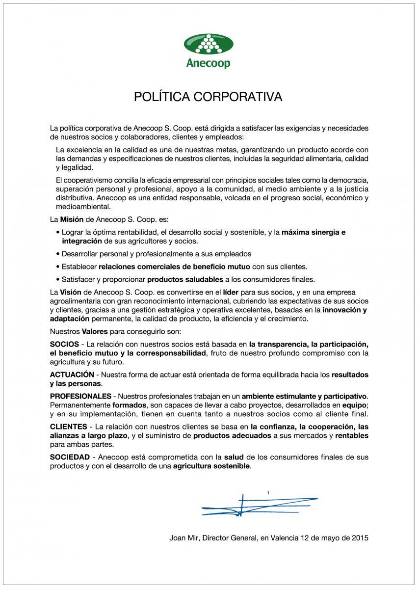 Política Corporativa de Anecoop S. Coop.